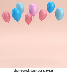 Colorfull balloons on bright background in pastel colors with copy space. 3d rendering