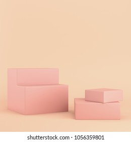 Colorfull boxes on bright background in pastel colors with copy space. 3d rendering