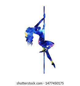 colorfull silhouette of girl and pole on a white background. Pole dance illustration for striptease dancers, exotic. Clipart with texture watercolor space for design. Sexy women