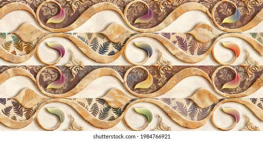Colorfull wall art mixed digital tiles design for interior home decor or ceramic 3d tiles design.
