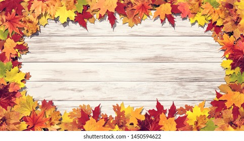 Colorfully Autumn leaves on wooden background 3D Rendering, 3D Illustration