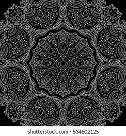 Coloring for adult| mandala| black and white| RASTER image