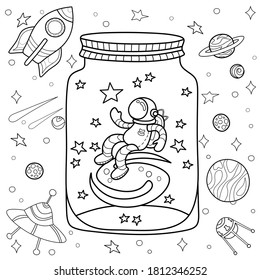 Coloring antistress page for adults and children. Cosmic fantasy