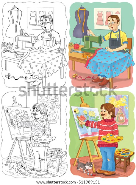 Coloring Book Abut Professions Two Pictures Stock ...