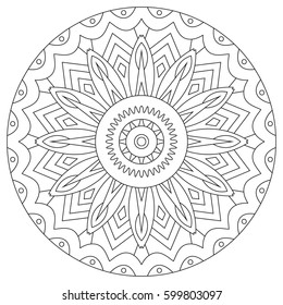 Coloring book for adult with mandala. Outline ornament hand drawn.
