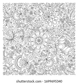 Coloring book for adult and older children. Coloring page with flowers pattern