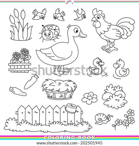 Coloring Book Animals Village Stockillustration 202501945 – Shutterstock