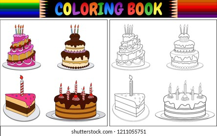 Coloring book birthday cake with candles
