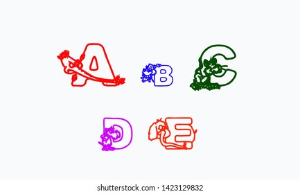 Coloring book cartoon ABCD letters