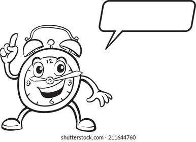 coloring book - cartoon alarm clock character