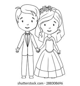 Coloring book: Cartoon groom and bride