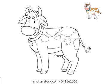 Coloring book for children, cartoon character, farm animals, Cow
