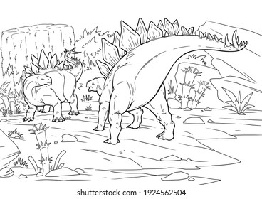 Coloring book for children with a dinosaur hand-painted in cartoon style