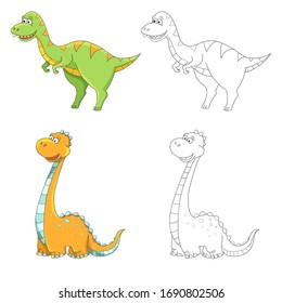 Coloring book for children with example Cute childish cartoon colorful colorless dinosaur dino blue green orange yellow pink coral girl boy funny isolated on white background