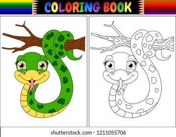 Coloring book with cute snake on tree branch
