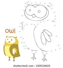Coloring book and dot to dot game for children. Numbers game. owl  illustration