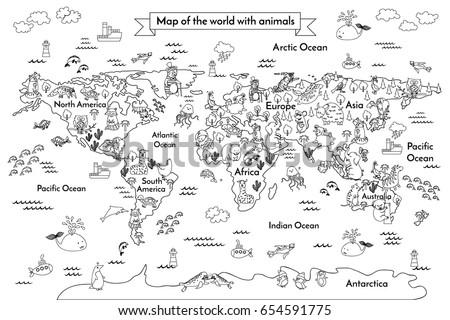 Coloring Book Map World Cartoon Globe Stockillustration 654591775 ...