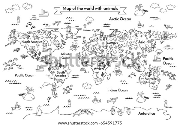 Coloring Book Map World Cartoon Globe Stockillustration ...