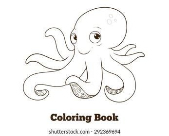 Coloring book octopus cartoon educational illustration raster version
