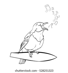 Coloring Book Page Cute Cartoon Bird Isolated On White Background