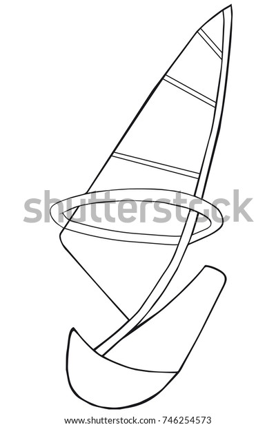 Coloring book  sail.  Cartoon style. Clip art for children.