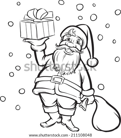 coloring book santa claus with christmas gift