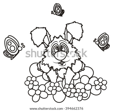 Coloring Bunny Bed Flowers Butterflies Stock Illustration 394662376