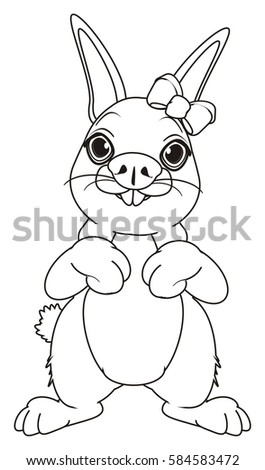 Coloring Bunny Girl Bow Stand Watch Stock Illustration