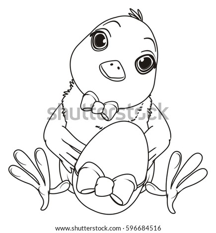 Coloring Chick Bow Sit Egg Bow Stock Illustration
