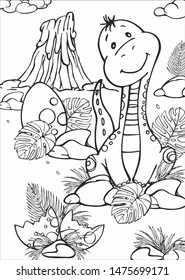 Coloring with a cute dinosaur sitting under a palm tree, on the background of a volcano . Cute prehistoric world for children's book.