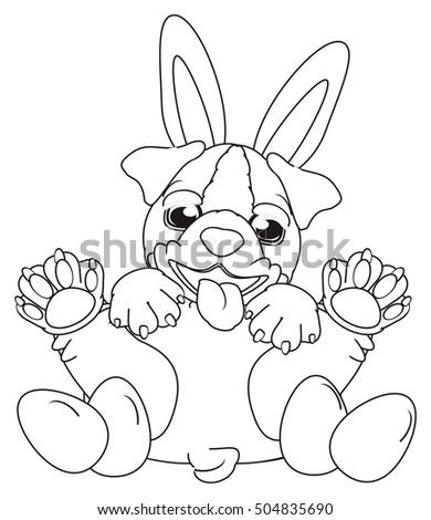 Royalty Free Stock Illustration Of Coloring English Bulldog Bunny