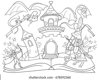 Coloring fairy open book tale concept - kids illustration with evil dragon, brave warrior and magic castle. Imagination coming to life in a children fantasy book. Cartoon tales characters raster