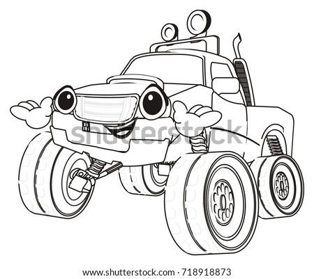 coloring happy bigfoot car stock illustration royalty free stock