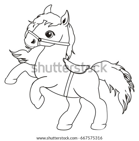 Coloring Horse Harness Stock Illustration