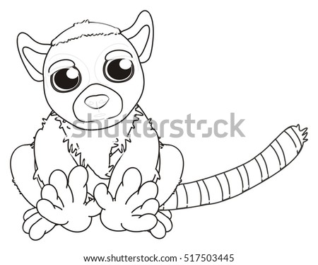 Coloring Lemur Sit Stock Illustration 517503445
