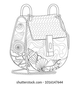 Coloring Page For Adults Bag With Seashells Art Therapy Line Illustration