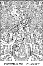 Coloring page for adults , a female wizard in armor hovers in the air against a Gothic castle background.