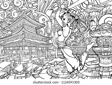 Coloring page for adults, girl samurai in the jump.