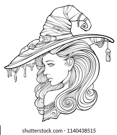 Coloring page for adults, witch surrounded by ghosts