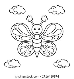 Coloring page with a butterfly.