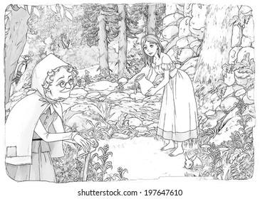 Coloring Page Cartoon Fairy Tale Illustration Stock Illustration