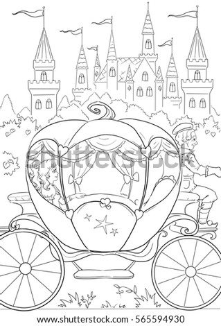 Coloring Page Cinderella Goes Ball Castle Stock Illustration