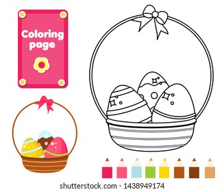 Coloring page. Color picture for toddlers and kids. Educational children game. Easter basket with eggs