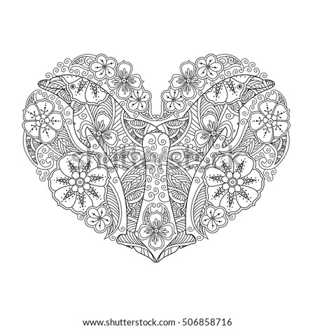 Coloring Page With Dolphin In Heart Shape Isolated On White Background Book For Adult