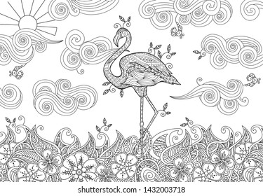 coloring page doodle style flamingo 260nw
