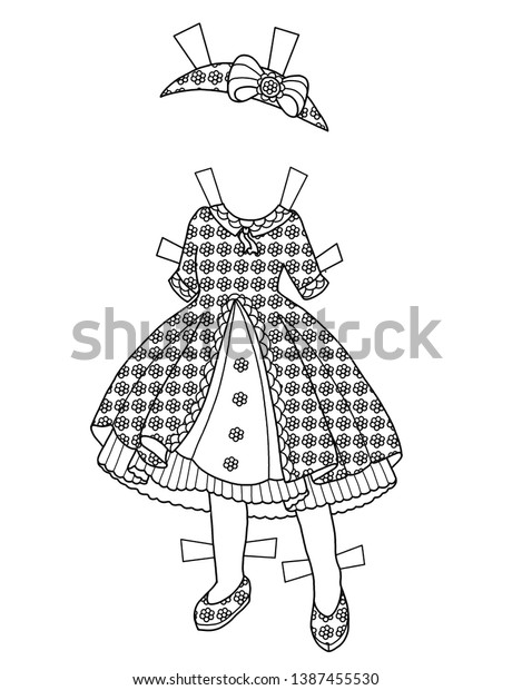 Coloring Page Dress Chibi Paper Doll Beauty Fashion Stock Image