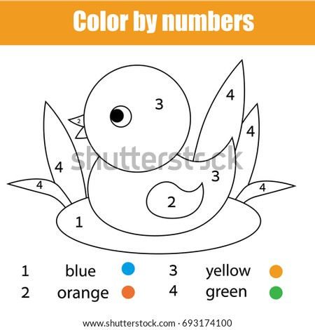 Coloring Page Duck Bird Color By Stock Illustration Royalty Free