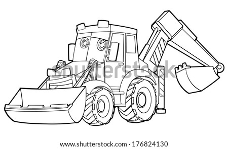 Coloring Page Excavator Illustration Children Stockillustration