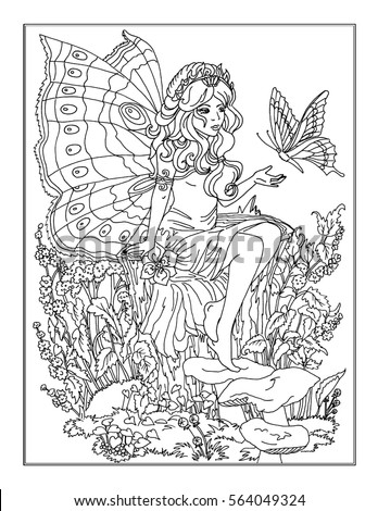 Royalty Free Stock Illustration Of Coloring Page Fairy Stock