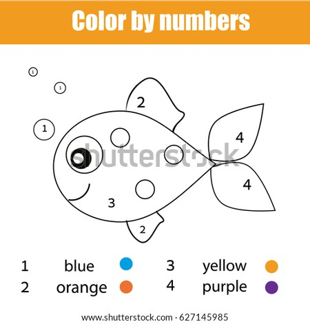 Coloring Page With Fish Character Color By Numbers Educational Children Game Drawing Kids Activity